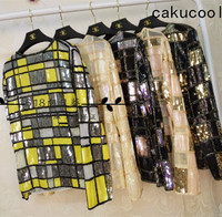 Cakucool Women Sequined Blouse Tops Mesh Blusas Long Sleeve Plaids Beaded Gold Silver See through Lady Runway Blouses Shirt