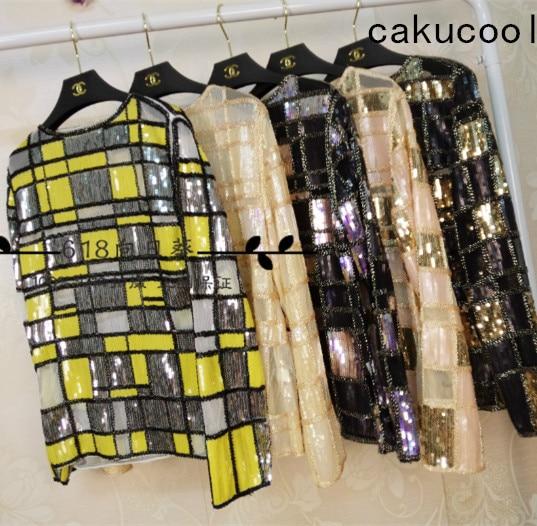 Cakucool femmes paillettes Blouse hauts maille Blusas à manches longues Plaids perlé or argent transparent dame Blouses de piste chemise