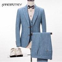 2018 Новый брендовый синий льняной костюм для мужчин Slim Fit Свадебные костюмы для мужчин летний пляжный пиджак для жениха Стиль Нежный 3 шт. Terno