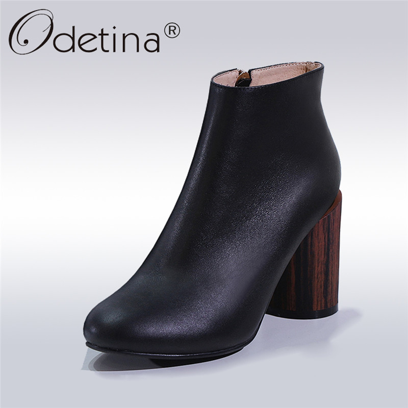 Odetina New Fashion Genuine Leather Ankle Boots For Ladies Round Toe Wooden Heel Shoes Side Zipper High Heel Booties Big Size 42 2017 autumn winter new womens leather ankle boots ladies black short boots round toe high block heel zip up booties size