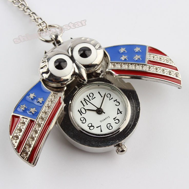 Silver Night Owl The Stars and Stripes US Flag Necklace Pendant Pocket Watch P41 night shall overtake us