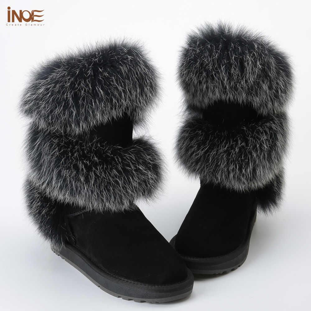 Yeni stil moda gerçek fox kürk kadınlar yüksek kış daireler kar botları inek süet deri kış ayakkabı siyah gri yüksek kaliteli