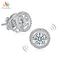 Peacock Star Classic Dancing Stone Stud Earrings Solid 925 Sterling Silver 2017 New Style CFE8129