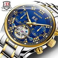 Top Brand BINKADA Multifunction Tourbillon Automatic Mechanical Watch Luxury Brand Mens Watch 5 Hands Date Reloj