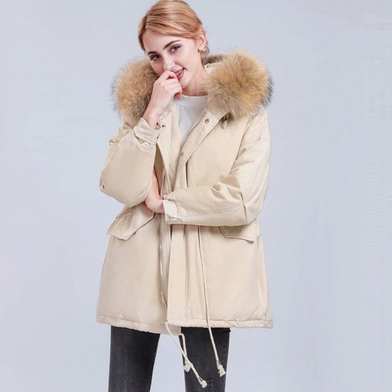 Fashion Big Fur Collar Hooded   Down     Coats   Winter Thicken Warm   Down   Jackets Female 90% White Duck   Down     Coat   Outwears FP1772