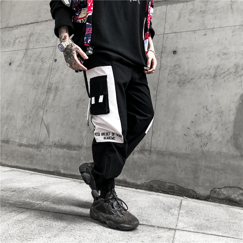 UNCLEDONJM Color Block Mens Sweatpants Fashion Track Pants Hip Hop Spring Fall Streetwear Pocket Loose Harem Jogger542W in Cargo Pants from Men 39 s Clothing