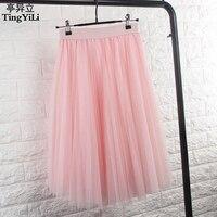Korean Cute Summer Fashion Adult Tulle Skirt White Gray Black Skirt Elastic Knee Length Women Skirt