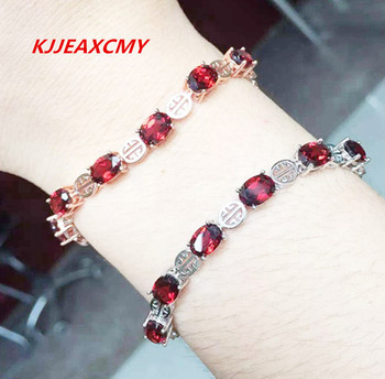 KJJEAXCMY 925 Sterling Silver Natural Garnet female bracelet, inlaid gemstone jewelry, two-color optional