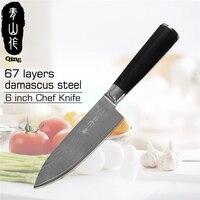 Японский VG10 Дамаск Сталь Ножи Цин Марка 6 дюймов шеф повар Ножи Новый Дизайн прямой деревянной ручкой Дамаск Кухня Ножи best подарок