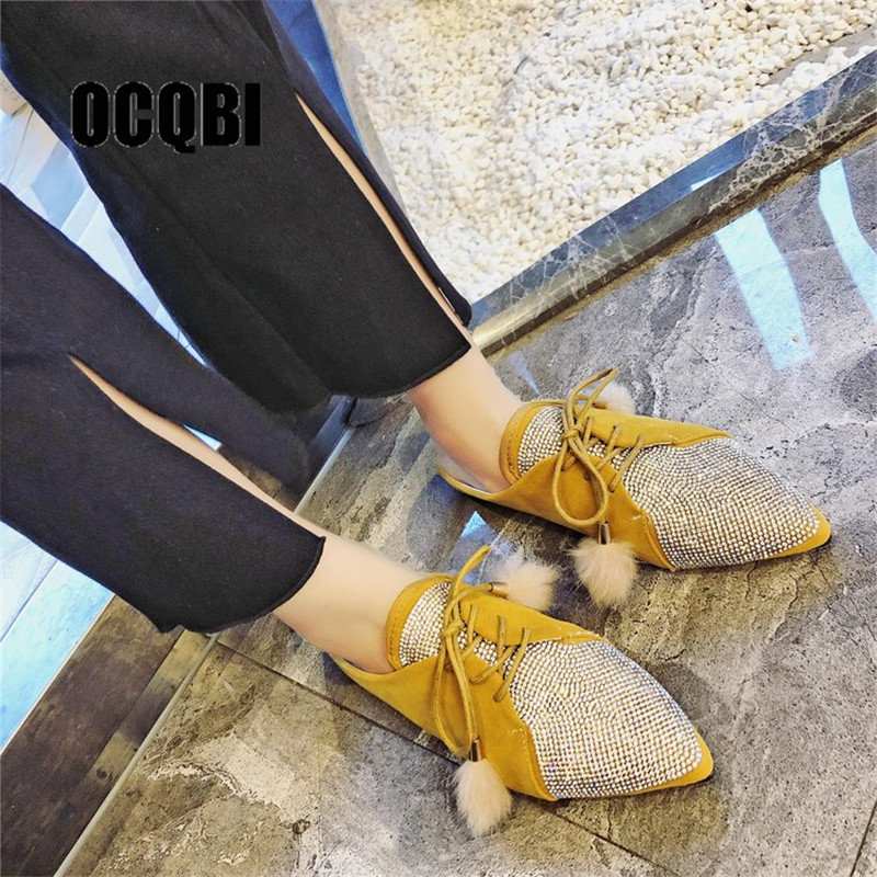 Women Slippers Flat Heel Autumn Shoes Slip On Yellow Slipper Woman Rhinestone Mules Indoor Pointed Toe Ladies Lace-up Muller pointed toe flat mules
