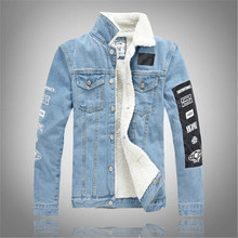 winter style new fashion alphabet print lamb denim jacket men's slim coat men's cashmere jeans coat