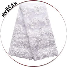 Mesh Embroidery Nigerian Net Lace Fabric 3D Flowers Royal Blue African Tulle Wedding White For dress