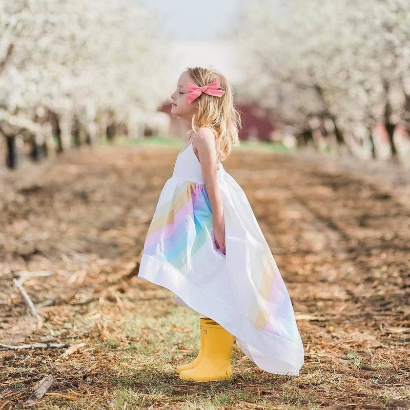 Rainbow Dress 2018 Summer Cotton Batch Baby Girl Dress Girls Wedding Party Dress Toddler Girls Beach Dress Kids Girls Clothing