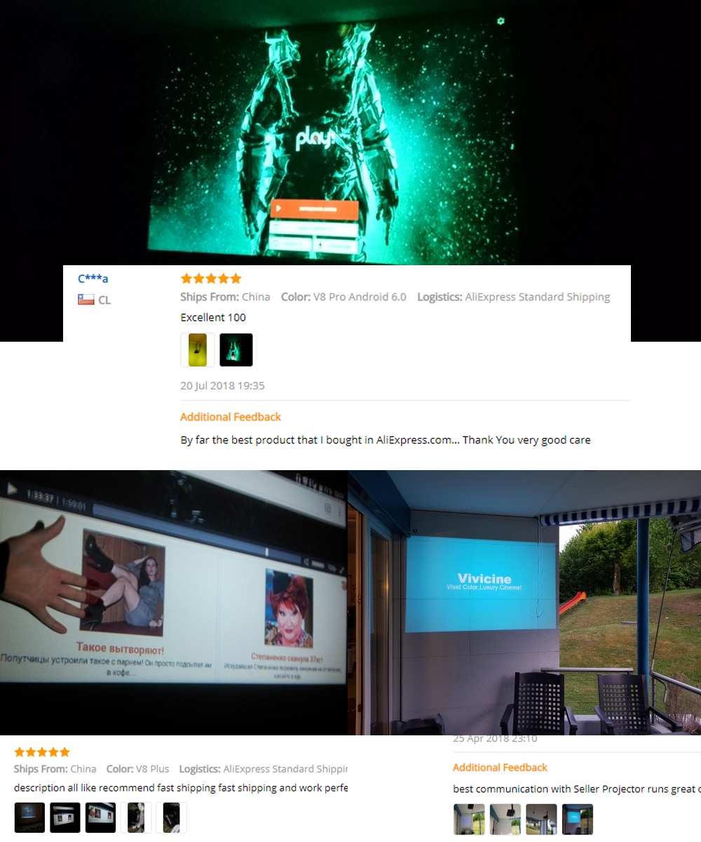 Vivicine 720P HD Projector, Optional Android WIFI HDMI USB PC Mini LED  Proyector Handheld Movie Beamer for Video games WOEDB