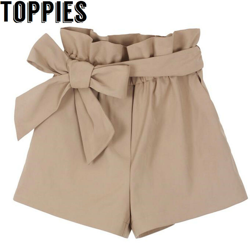 Toppies Women 2019 Summer Women Bow Belted   Shorts   Korean Style Women Loose High Waisted   Shorts   Khaki Black   Short   Pants