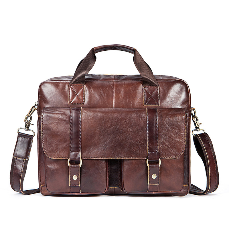 Men's Briefcase Real-Leather Tote Computer-Bag Business Vintage New Male 100%Cow