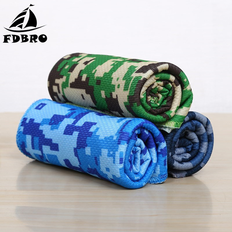 FDBRO Sport Ice Towel Camouflage Printed Quick Dry Training Fitness Towel Cooling Cold Towel Running Yoga Outdoor Travel SummerFDBRO Sport Ice Towel Camouflage Printed Quick Dry Training Fitness Towel Cooling Cold Towel Running Yoga Outdoor Travel Summer