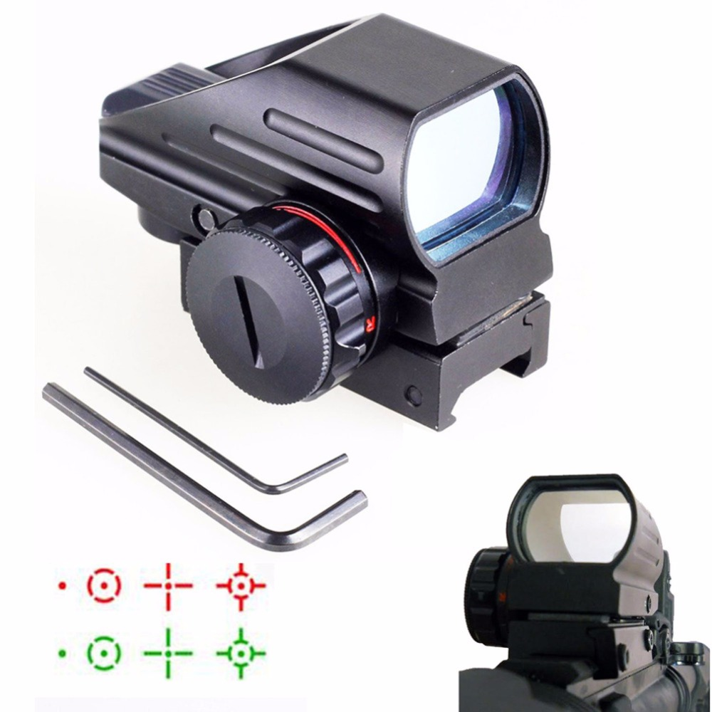 ФОТО Holographic Aiming Device Red Dot Hunting Red/Green Dot Sight Tactical Reflex 4 Reticle Sight for Airsoft 20mm Rail 5-0032