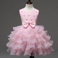 2018 Nuevo Vestido Del Bebé para Las Niñas 18 24 Meses 4 6 8 Años cuentas Arco Niñas Vestido de la Torta para el Partido y La Boda Vestido Girls 2C58