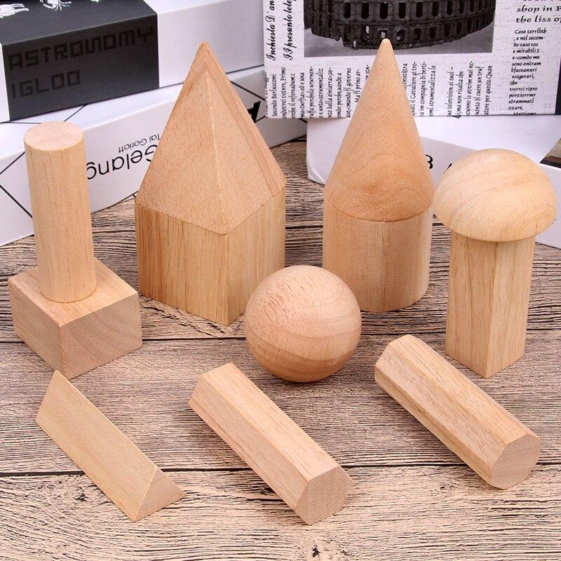 12/15pcs Color Wooden Geometry Combination Teaching Aids Children Early Education Building Blocks 3D Educational Toys-in Wooden Blocks from Toys & Hobbies