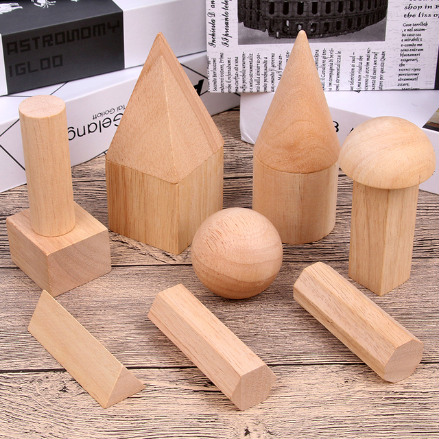 12/15pcs Color Wooden Geometry Combination Teaching Aids Children Early Education Building Blocks 3D Educational Toys