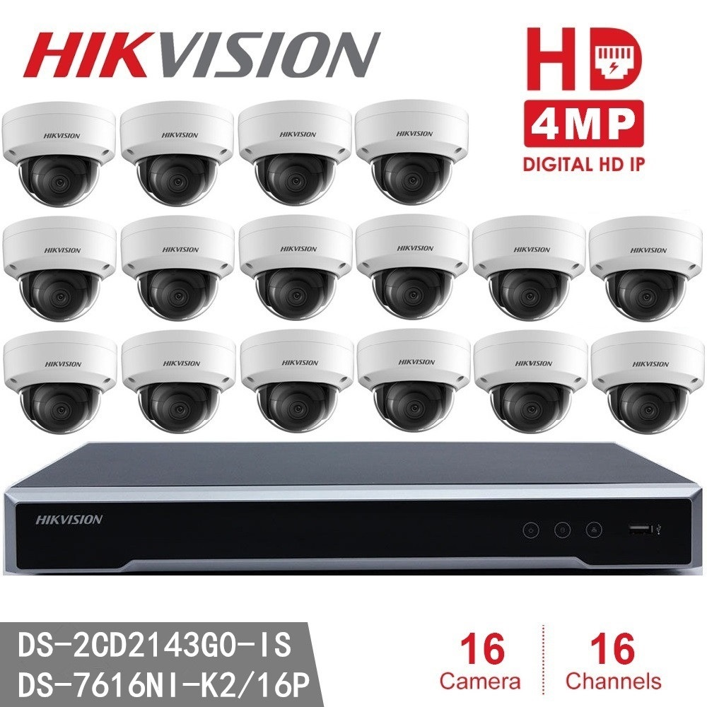 Hikvision DS 2CD2143G0 IS IP Camera 4MP Dome Security Camera POE H.265 + Hikvision NVR DS 7616NI K2/16P 8MP Resolution Recording-in Surveillance System from Security & Protection