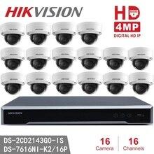 Hikvision DS 2CD2143G0 IS cámara IP 4MP cámara de seguridad Domo POE H.265 + Hikvision NVR DS 7616NI K2/16 P 8MP resolución de grabación