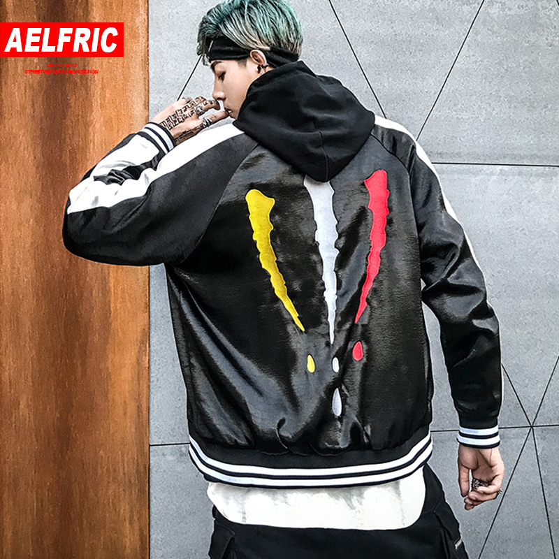AELFRIC Baseball Bomber Jacket Men Ma 1 Pilot Outwear Patchwork Color 2018 Fashion Hip Hop Jackets Coats Casual Streetwear OF074-in Jackets from Men's Clothing    1