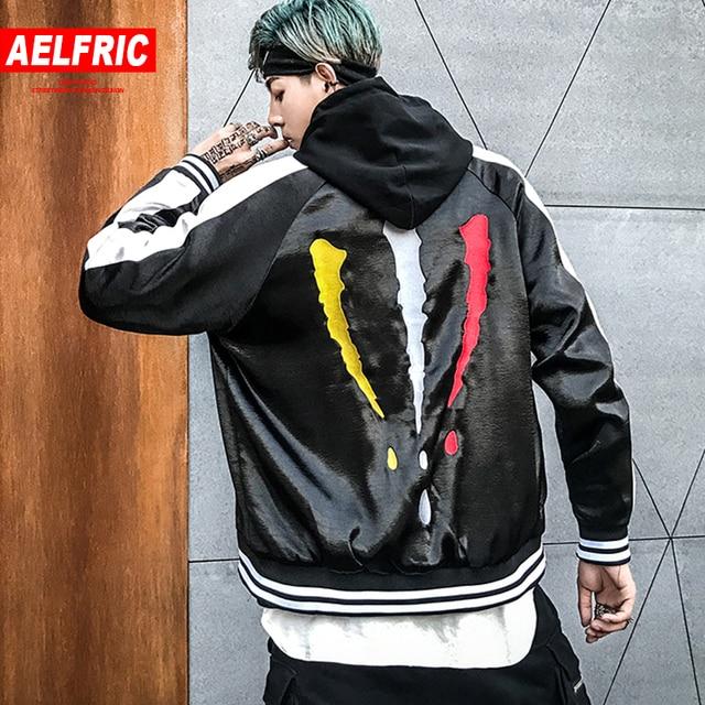 AELFRIC Baseball Bomber Jacket Men Ma-1 Pilot Outwear Patchwork Color 2018 Fashion Hip Hop Jackets Coats Casual Streetwear OF074