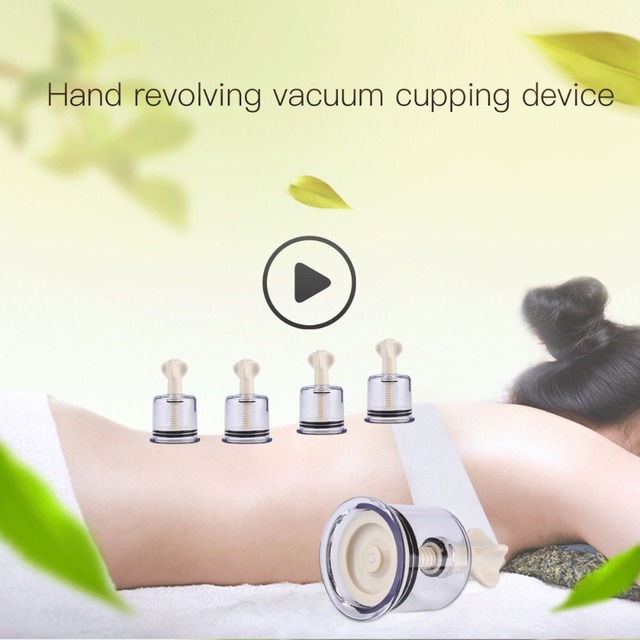 4pcs Vacuum Cupping Cups Family Body Massage Helper Anti Cellulite HealthCare Massage Face Neck Medical Twist Suction Cupping 41