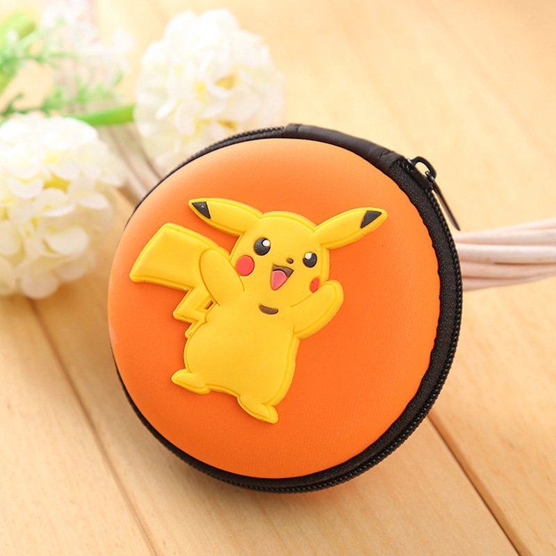 Novelty Pokemon Silicone Coin Purse Pocket Monster Anime Cartoon Pikachu Zipper Wallet Mini Round Earphone Holder Kids Coin Bags anime pocket monster flareon cosplay cap orange cartoon pikachu ladies dress pokemon go hat charm costume props baseball cap