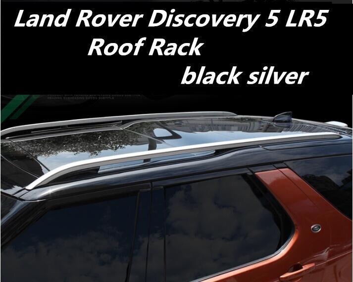 JIOYNG Voiture Haute Qualité SUV Toit Porte-bagages Porte-bagages bar pour 17 18 Land Rover Discovery 5 LR5 2017 2018 (noir/argent)