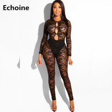 цена на Hollow Out Lace Bodycon Jumpsuit Skinny Sexy Long Sleeve Ring Playsuit Women Rompers Jumpsuit Club Outfit Elegant Party Overalls