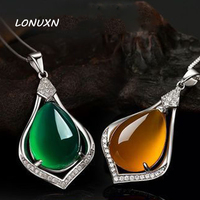 yellow Green Chalcedony water drop shape Pendant Vintage 925 sterling silver jewelry natural Semi precious stones necklace