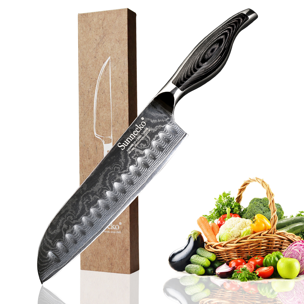SUNNECKO 7 inch Santoku Knife 73 Layers Damascus Steel Kitchen Knives Japanese VG10 Blade Meat Cutter