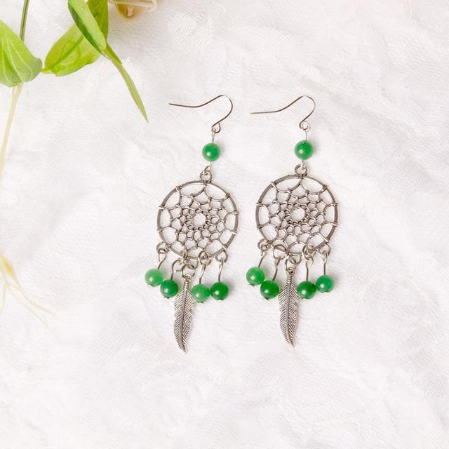 Miamor 10 Colors Cute Mini Dreamcatcher Earrings Turquoise Dream Catcher Eardrop For Lady S Jewelry Accessories