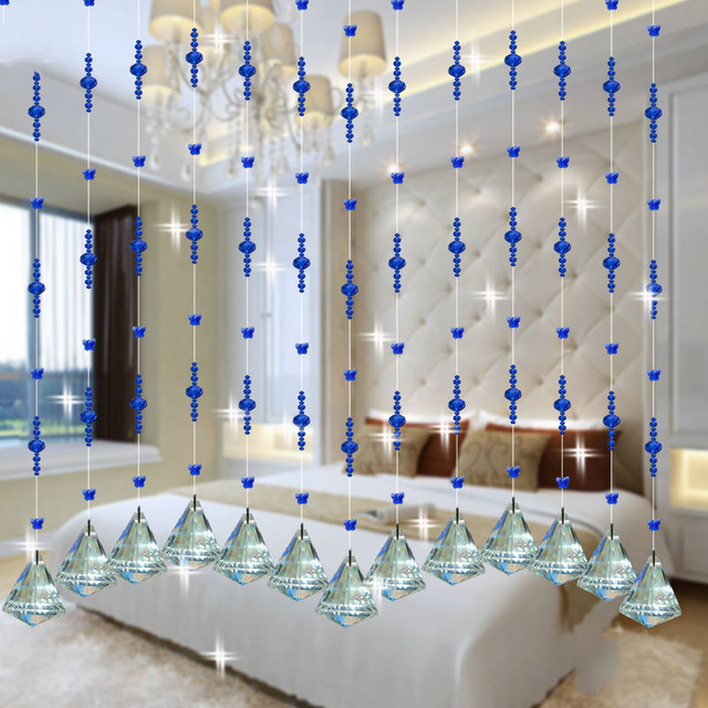 Buy crystal glass beads rope curtain home for Crystal home decorations