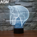 Free Ship Luces Navidad Horse Table lamp 7 Colors Changing Desk Lamp 3D Lamp Novelty Led Night Light USB LED Light Drop Ship