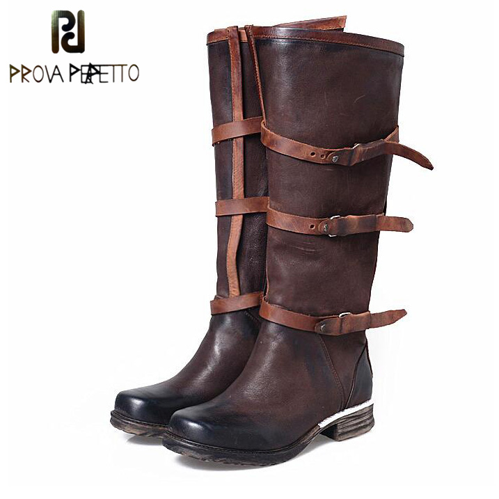 Prova Perfetto Women Genuine Leather Belt Buckle Knee High Boots Fashion Square Toe Long Boots Flat Comfortable Knight Boots prova perfetto fashion round toe low heel mid calf boots feminino buckle belt thick bottom genuine leather women s martin boots