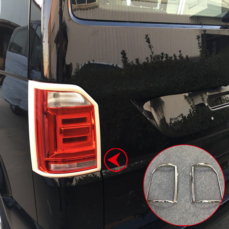 For VW Volkswagen Transporter T6 2017 2018 Car Rear Tail Light Lamp Cover Trim Car Styling ABS Chrome Auto Accessories car auto accessories rear trunk trim tail door trim for subaru xv 2009 2010 2011 2012 2013 2014 abs chrome 1pc per set