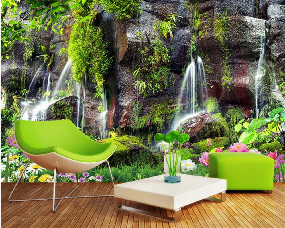 US $8 85 OFF Beibehang 3 D Foto Wallpaper Mural Pemandangan Taman Air Terjun HD Pemandangan Sofa TV Latar Belakang Dinding 3 D Wallpaper