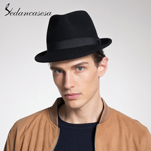 Sedancasesa New Classic Trilby Hat Male Fedora Hat with 100%
