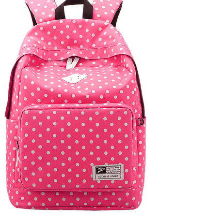 Fashion dot design canvas travel backpack women bag Korean casual ladies backpacks for girls school bags teenagers rucksack