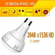 New Design 2K 3.0MP 360 Degree Bulb Light Wifi IP Camera Full View Fisheye Wireless Camera Home Monitor Alarm Panoramic Camera