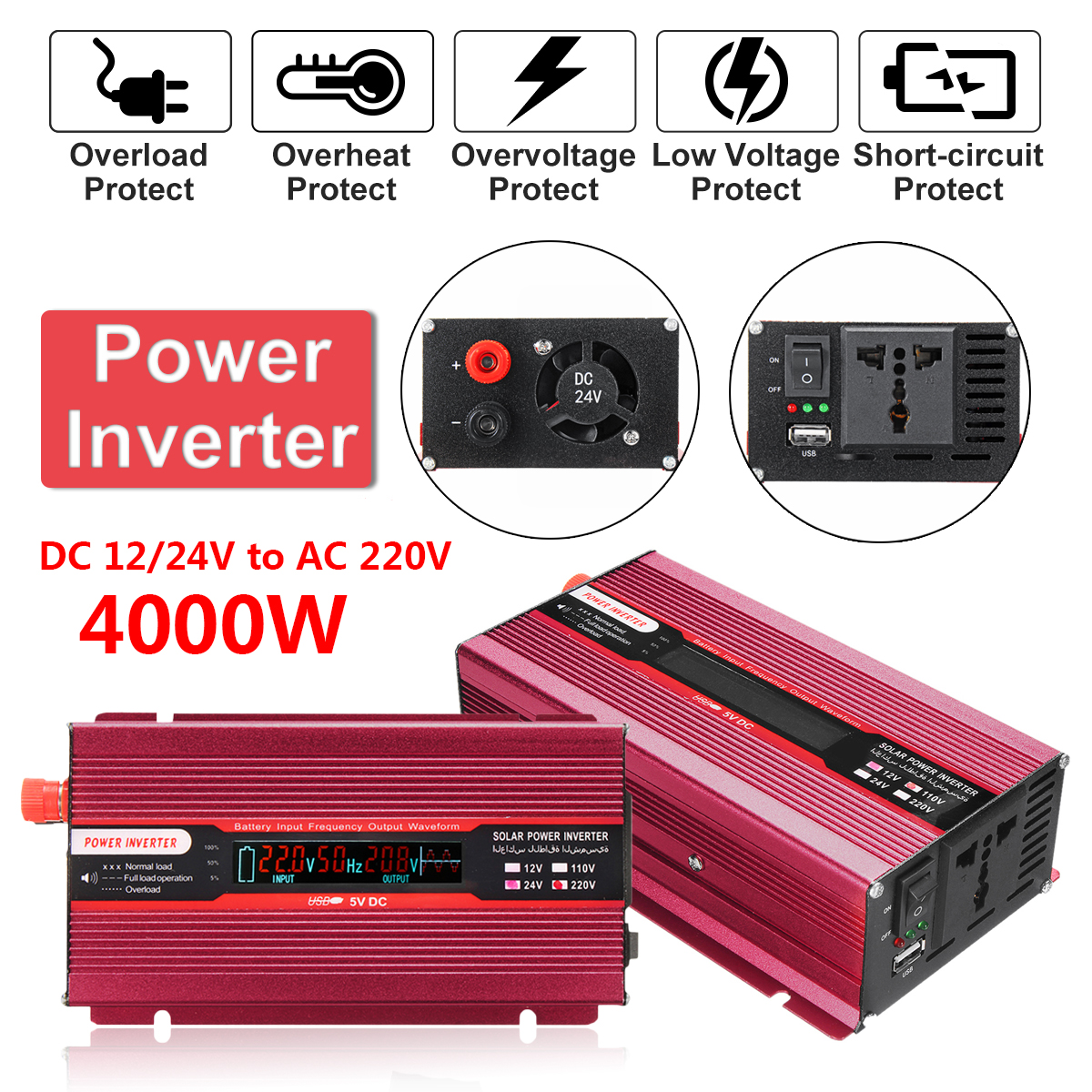 Voltage Transformer 12/24V To AC 220/110V Car Power Inverter PEAK 4000W USB Modified Sine Wave Converter Protection Aluminum Red 12 24v to ac 220 110v car power inverter converter peak 10000w usb modified sine wave voltage transformer universal intelligent