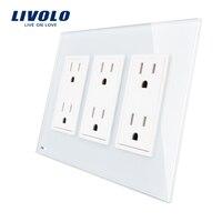 Livolo US Standard 3 Gang US Socket 15A Vertical Luxury White Crystal Glass VL C5C6US 11