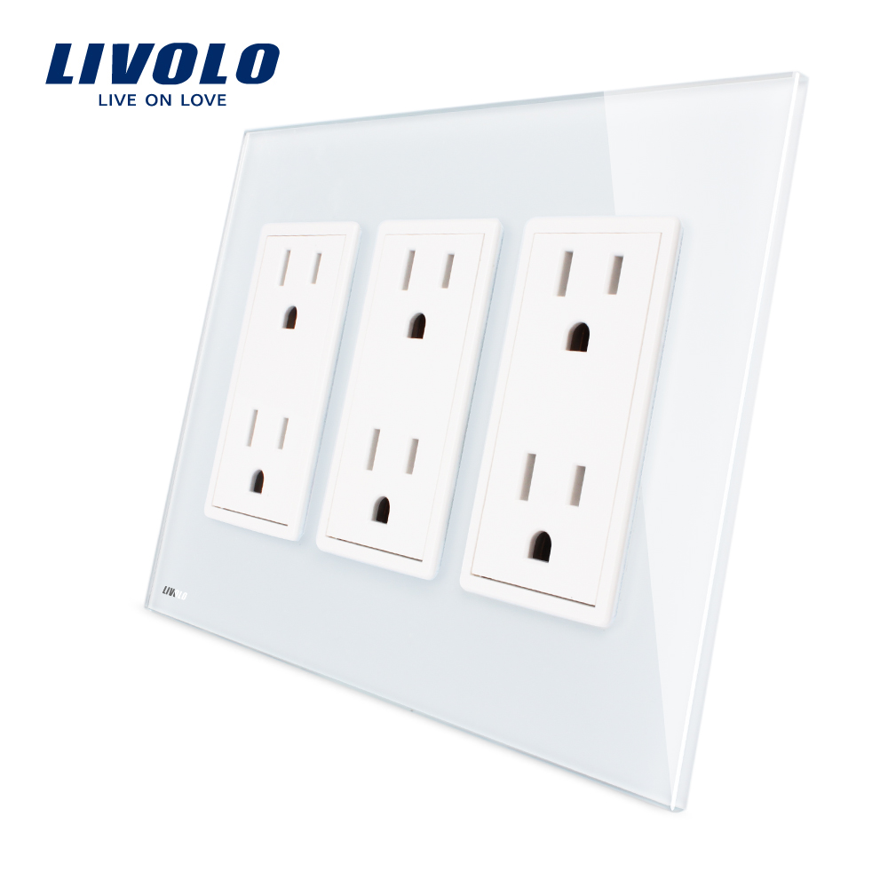 Livolo US standard 3 gang US Socket(15A), Vertical Luxury White Crystal Glass, VL-C5C6US-11 us 3 12