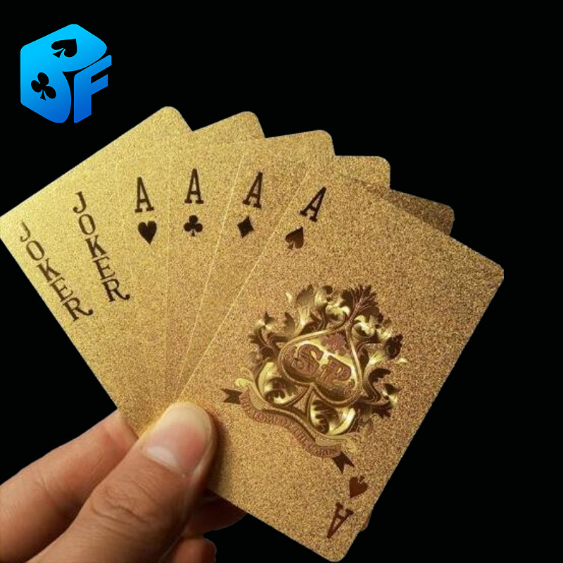 Free Shipping Golden Playing Cards Deck Gold Foil Poker Set Magic Card 24 K Gold Plastic Foil Poker Durable Waterproof Cards