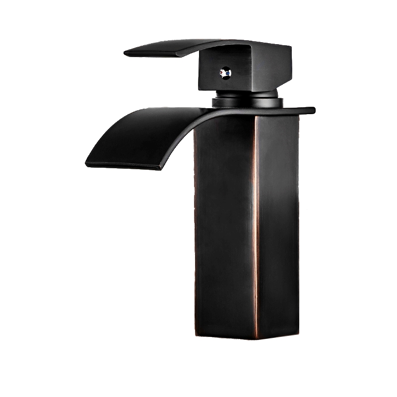 European Style Black Washbasin Square Faucet Wash Basin, American Waterfall Faucet, Solid Brass Bathroom, Hot And Cold Faucet american black three hole retro basin faucet european style washbasin bathroom hot and cold split bathtub faucet lu41316