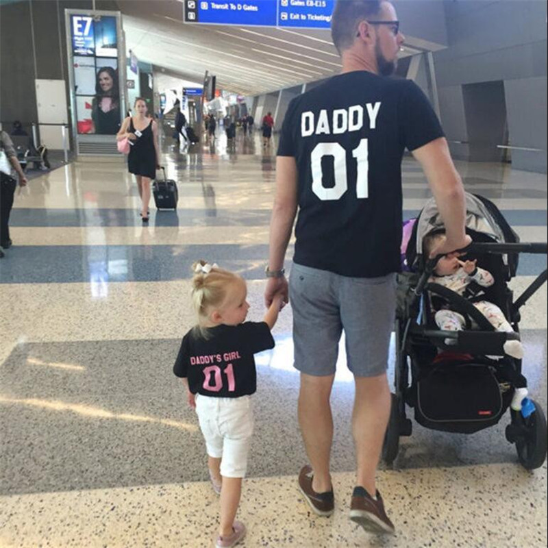 Household Matching Outfits Cotton Father Daughter Informal Garments Black Letter T Shirt Summer season Quick Sleeve Household Look Clothes